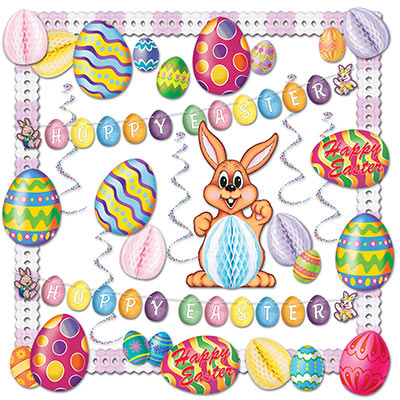Easter Banner 20 PCS Easter Bunny Balloons Family Easter Decorations Easter Gifts RECUTMS Easter Party Decoration Supplies Kits