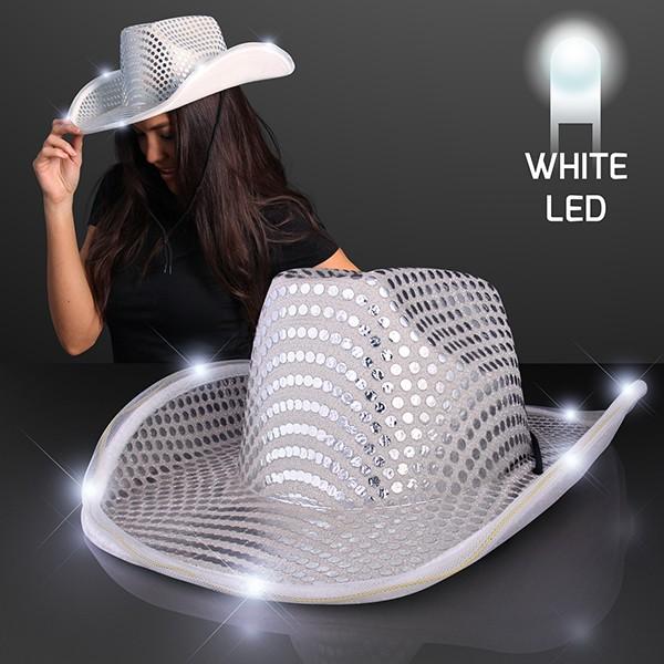 756d2da0e white cowboy hat that lights up with sequins