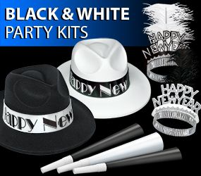 black and white new years eve party kits image