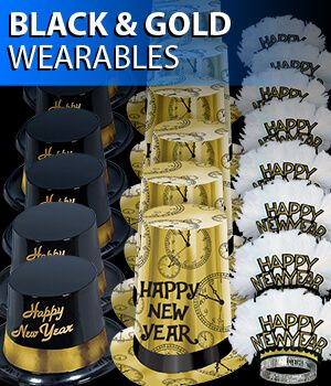 black and gold new years eve party hats and tiaras