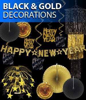 black and gold new years eve party decorations