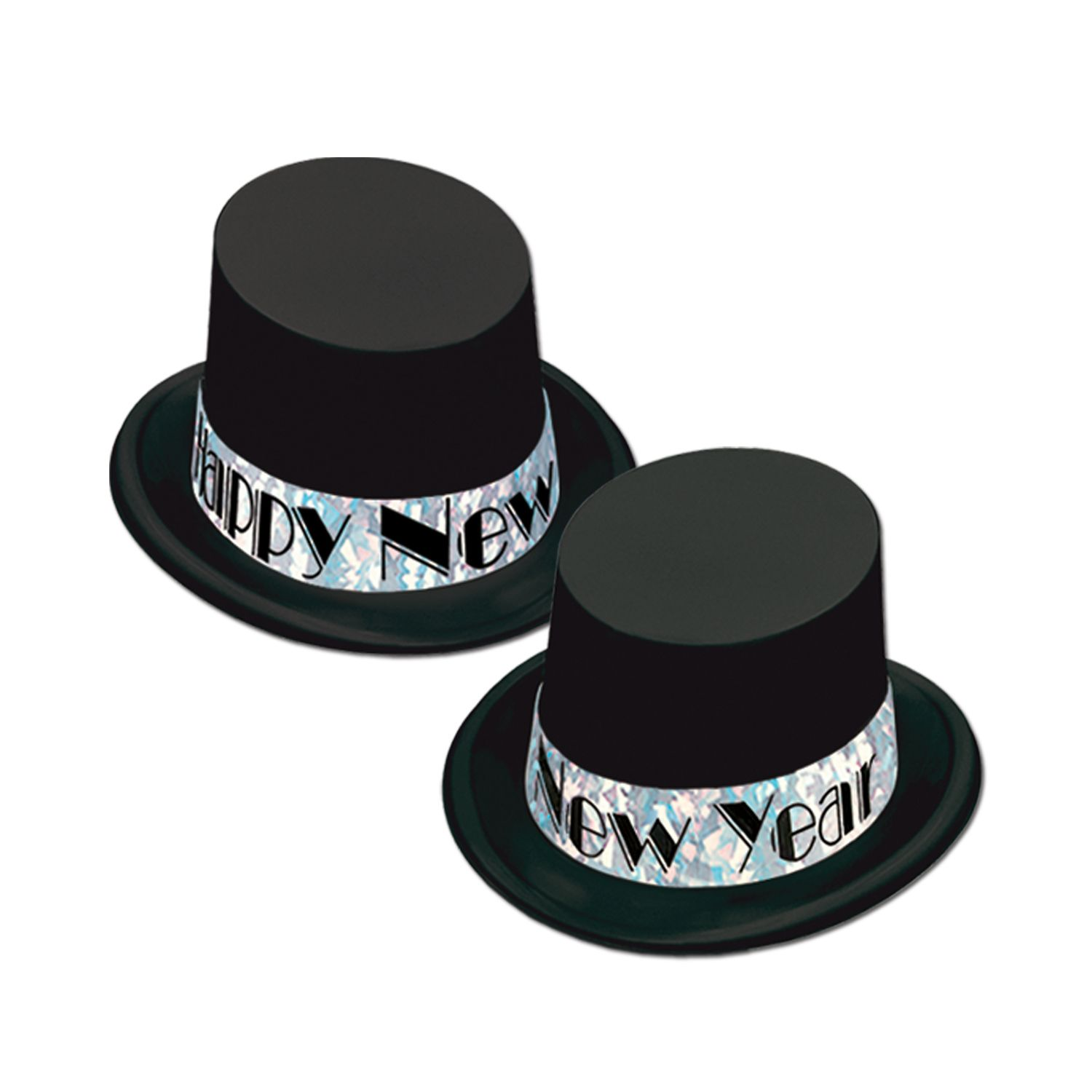 black and silver happy new year top hat