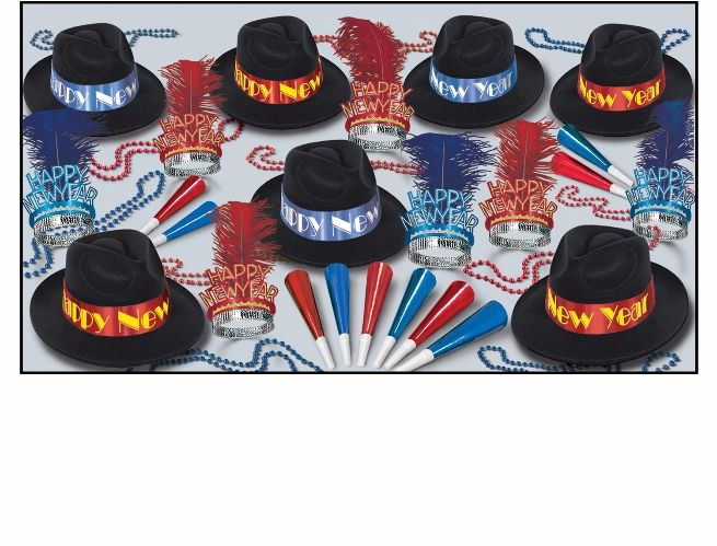 Fire & Ice Assortment for 50  Fire and Ice, Red and Blue, New Years Eve, Party Supplies, Decorations, Party Kits, NYE Assortments, Velour fedoras, Plumed tiaras, Inexpensive Decor, Bulk Party Supplies