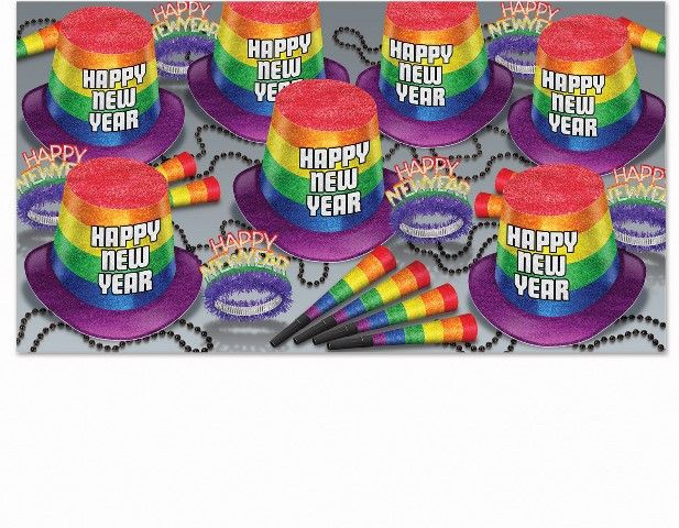 New Year Pride Party Kit for 50 New Year Pride Party Kit for 50, rainbow, assortment, party favors, wholesale, inexpensive, bulk