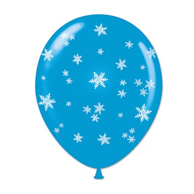 "11"" Snowflake Balloons (Pack of 50) Snowflake Balloons, Snow, Snowflakes, Winter, Winter wonderland, Christmas, Seasonal decor, Wholesale party supplies, Inexpensive party favors, Party goods, Cheap, Bulk, Blue, White"