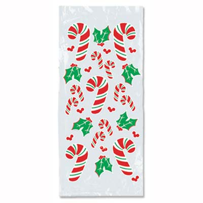 Candy Cane & Holly Cello Bags (Pack of 12) .
