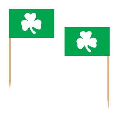 Shamrock Picks (Pack of 600) irish, picks, shamrock, three leaf clover, clover, green, white, st patricks day, st pattys day, celtic