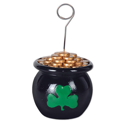 Pot-O-Gold Photo/Balloon Holder (Pack of 6) Pot-O-Gold, Pot of Gold, Photo holder, Balloon Weight, Balloon Holder, Balloons, Green, St. Patricks Day, St. Pats, Wholesale party supplies, Inexpensive party supplies, Cheap, Bulk, Party Goods