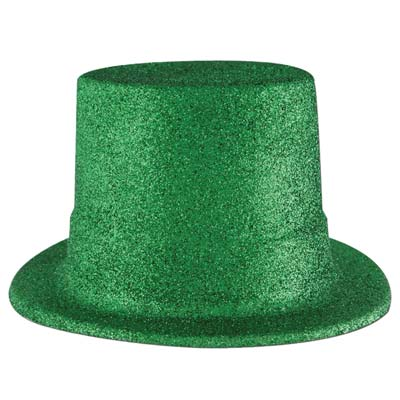 Green Glittered Top Hat (Pack of 24) .