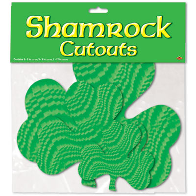 Embossed Foil Shamrock Cutouts (Pack of 12) .