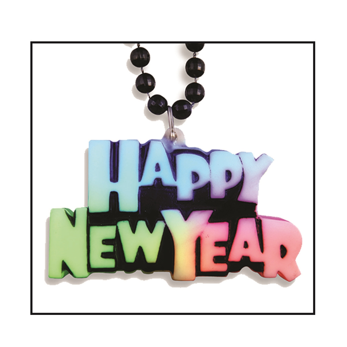 LED Happy New Year Necklace (Pack of 12) Light Up Necklace, LED, Glow in the dark, Party Favors, Inexpensive Party Favors, Wholesale, Bulk, New Years Eve