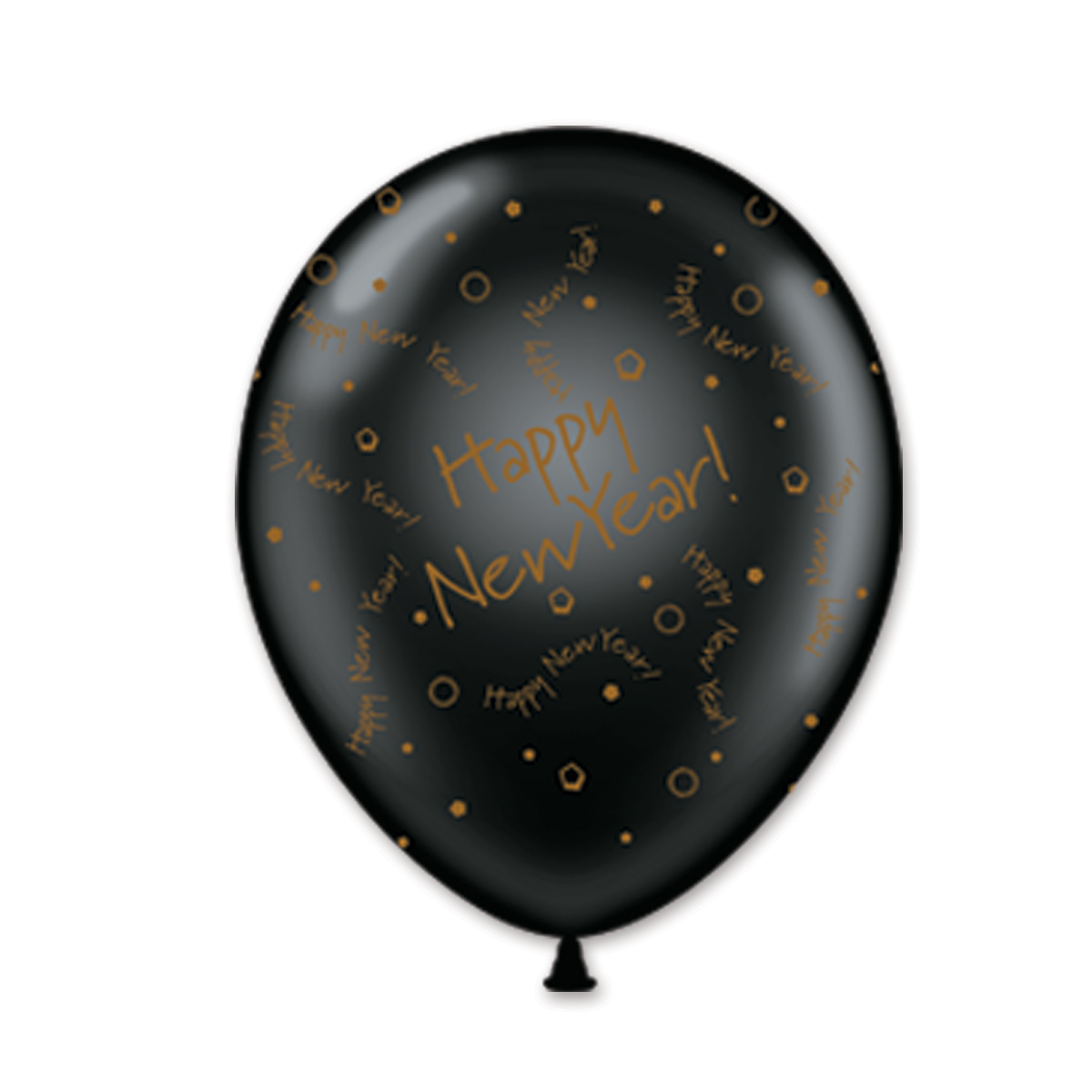 "11"" Black and Gold Happy New Year Balloons (Pack of 100) Balloons, Crystal, Crystal Balloons. 11"", Happy New Year, HNY, Balloon Drop, Decor, Inflatable"