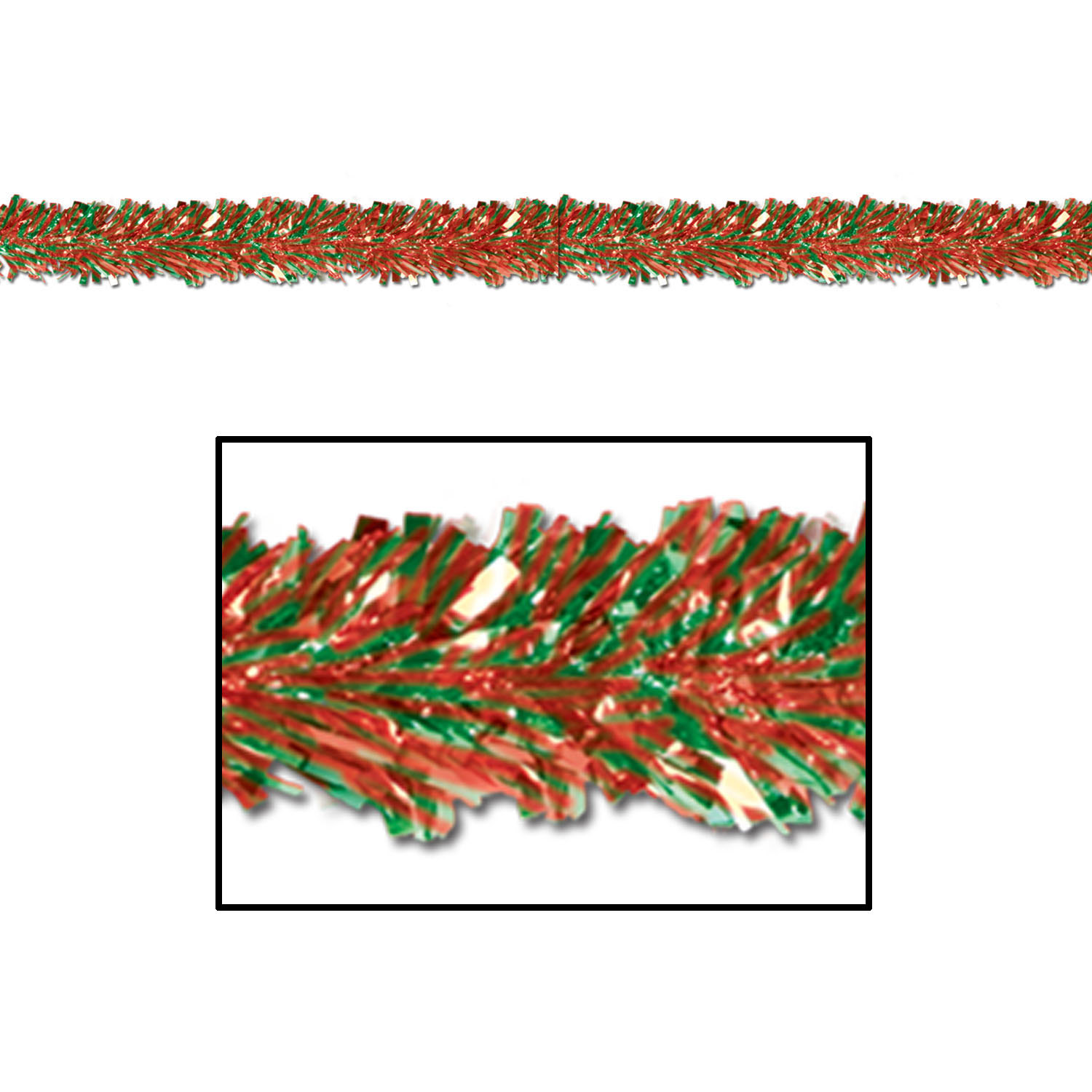 6-Ply Red and Green Metallic Festooning Garland (Pack of 12) .