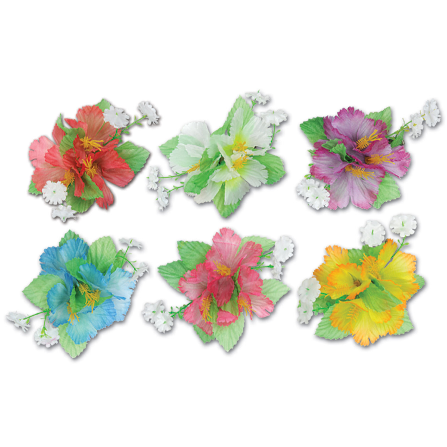 Hibiscus Hair Clips (Pack of 12) lei, new years eve, hibiscus, flower, luau, inexpensive, wholesale, bulk