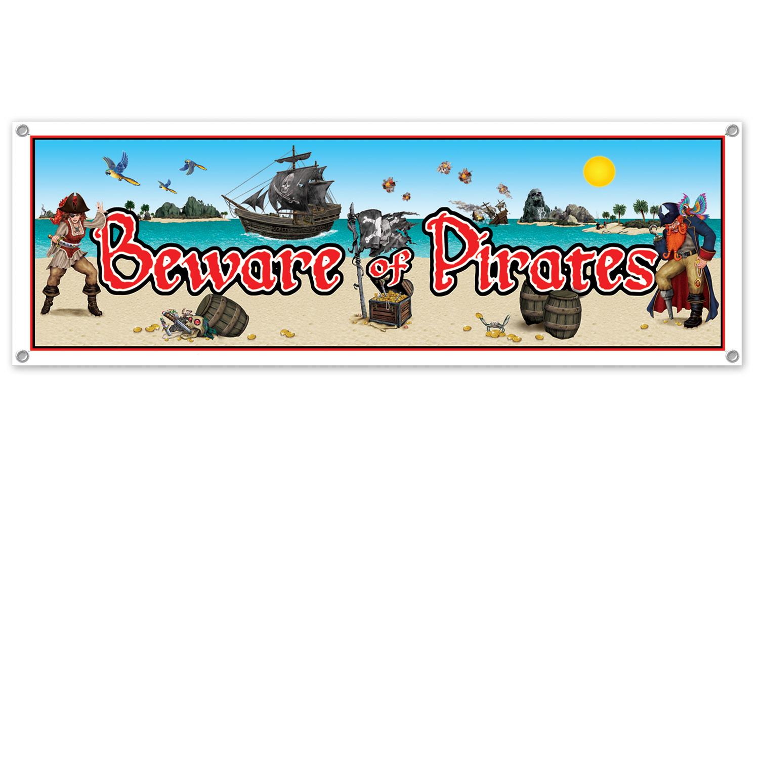 Beware Of Pirates Sign Banner (Pack of 12) Pirate Sign, Beware Banner, Cheap pirate decor, Pirate ideas, Birthday supplies, Cheap birthday, Bowling Alley Decor, Inexpensive party, Wholesale supplies, All Weather Party Banner