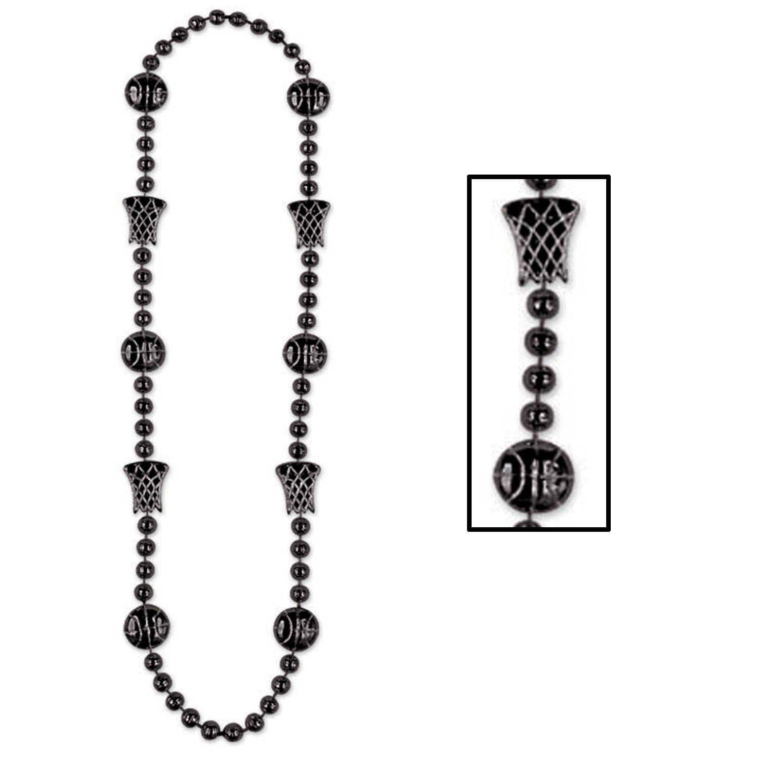 Black Basketball Beads (Pack of 12) .