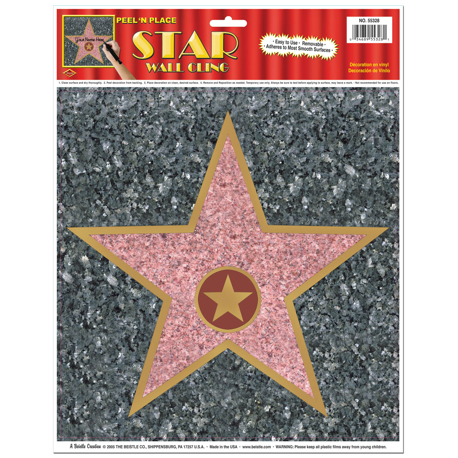 Star Peel-N-Place (Pack of 12) Star Peel-N-Place, party favor, hollywood, new years eve, halloween, wholesale, inexpensive, bulk