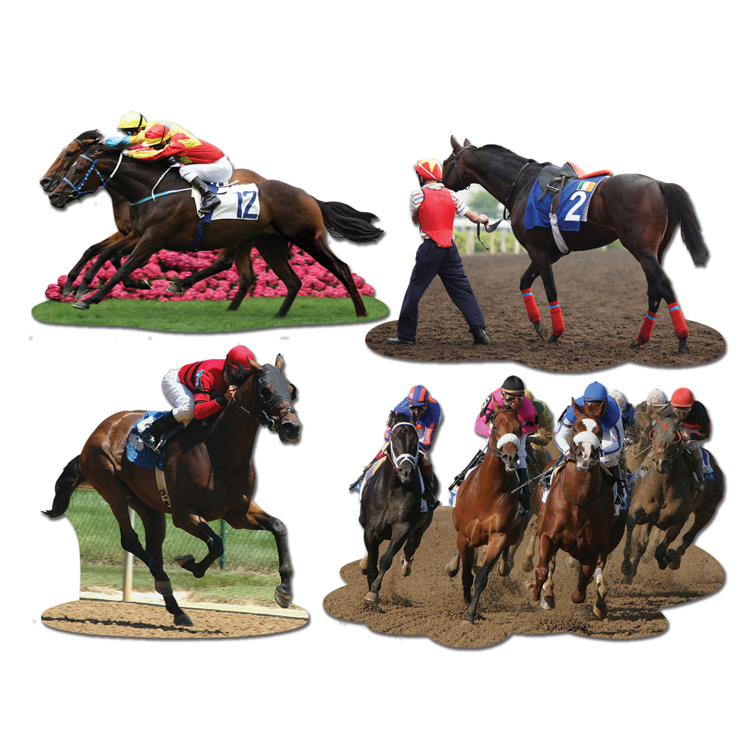 Horse Racing Cutouts (Pack of 12) Horse Racing Cutouts, decoration, derby, horse, racing, wholesale, inexpensive, bulk