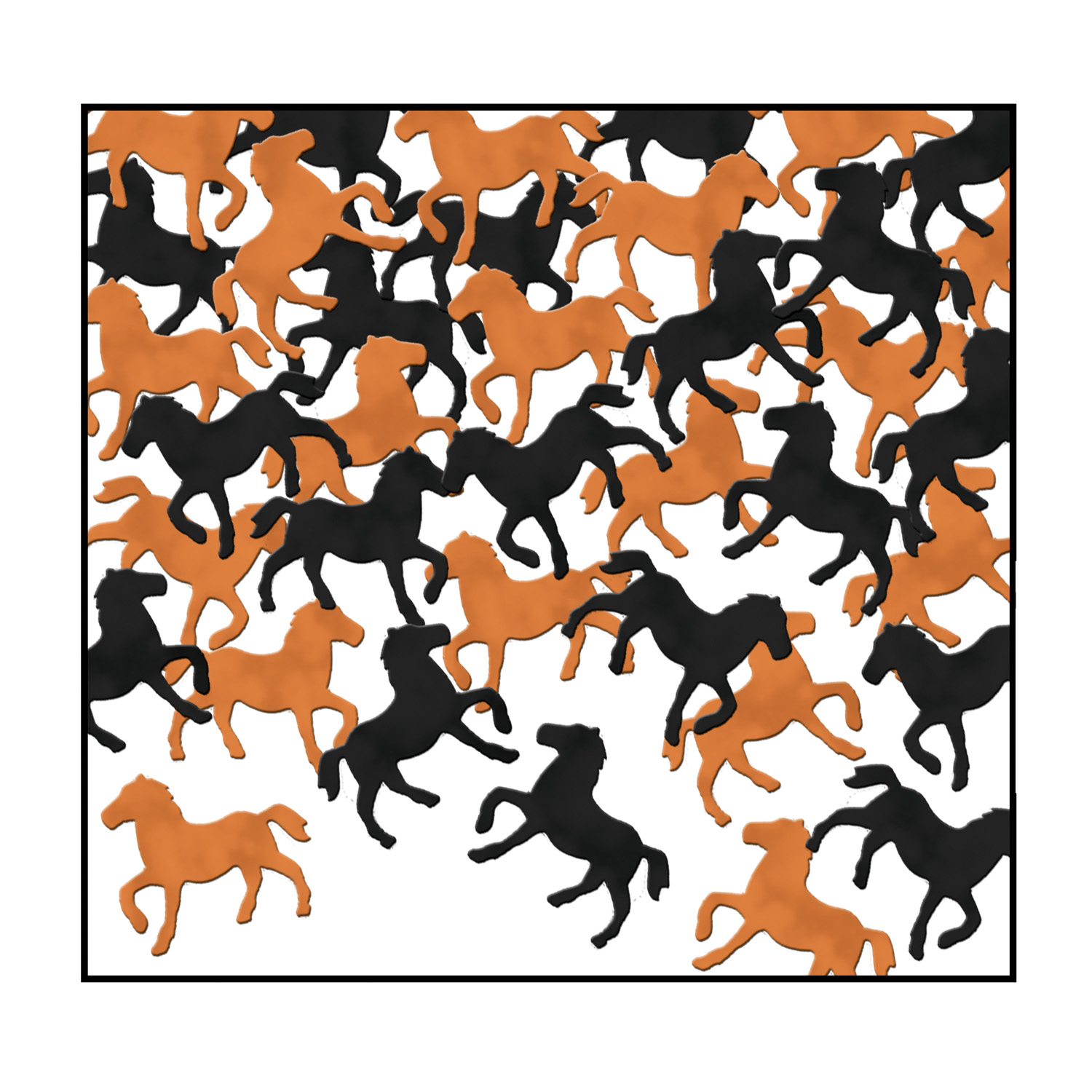 Fanci-Fetti Horses (Pack of 12) Black and Copper Confetti, Horse Confetti, Fanci-Fetti Horses, Derby Day decorations, Sports Decor, Inexpensive Confetti, Wholesale party decorations