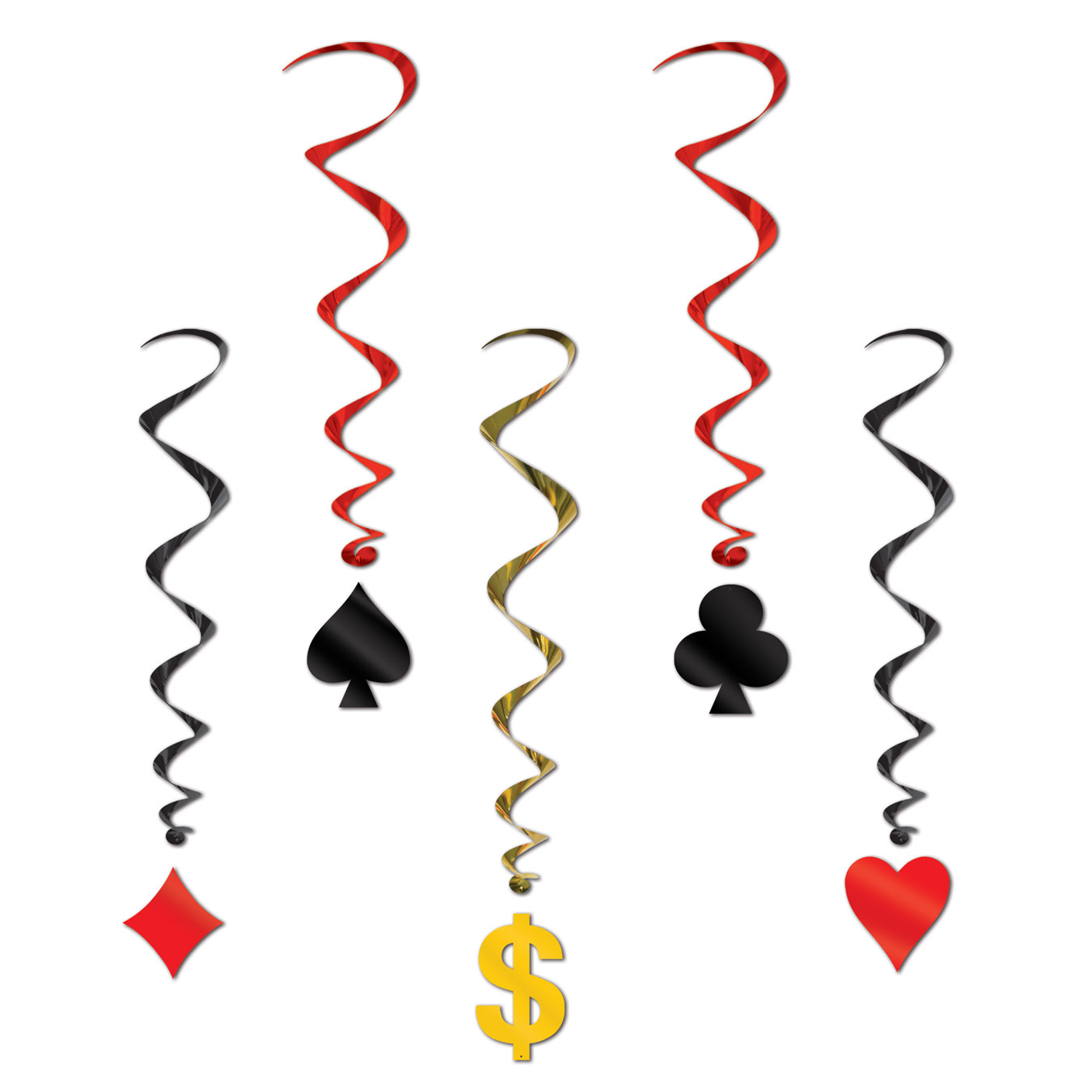 "Card ""Suit"" Whirls (Pack of 30) card, suit, whirls, dollar, sign, casino, Las Vegas, party, pack, hanging, decoration, poker, night, event,"