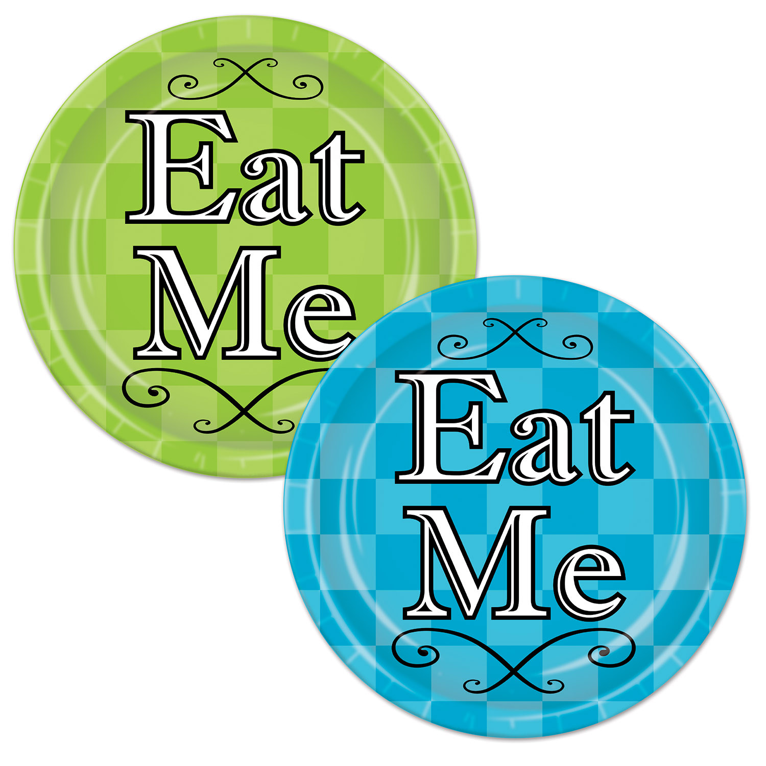 Alice In Wonderland Plates (Pack of 96) Alice In Wonderland, Dinner Plates, Blue and Green Plates, Wholesale party supplies, Inexpensive party decorations, Cheap Party goods