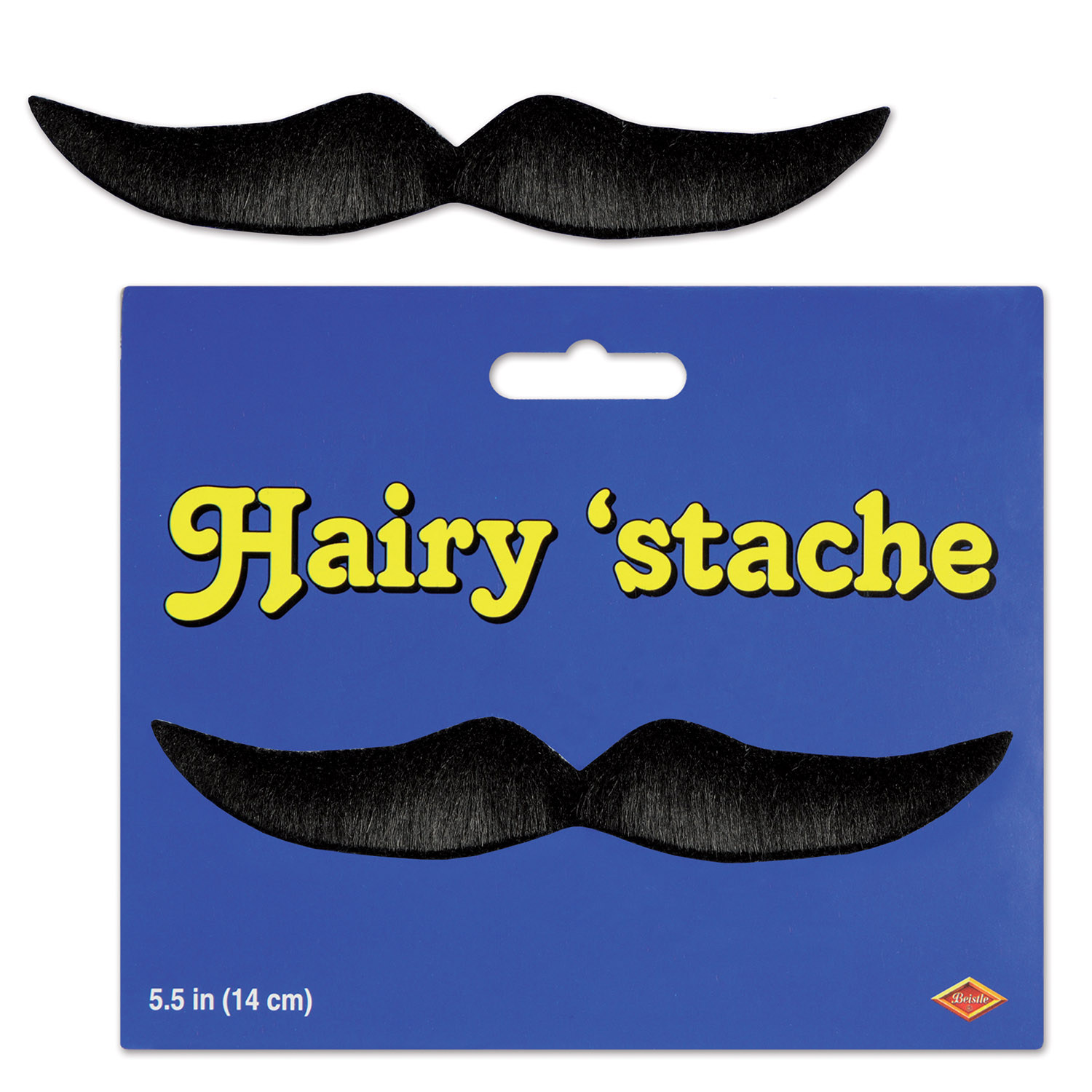 Black Hairy Mustache (Pack of 12) .