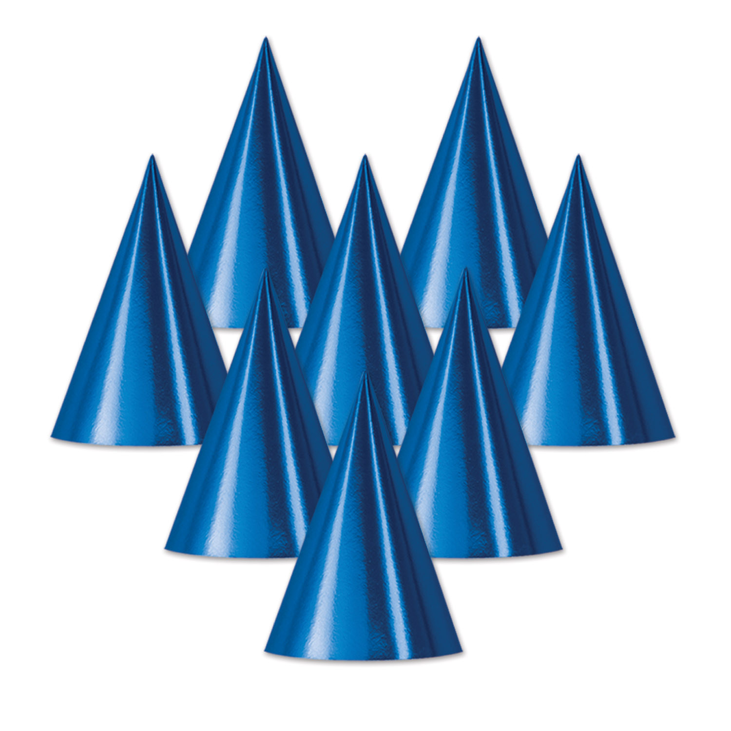 Foil Cone Hat (Pack of 48) Foil Cone Hat, Party Hat, Cone Hat, Inexpensive party hat, Wholesale decorations, Cheap favors, blue paper hats, Birthday ideas, New Years Eve, Every day hats
