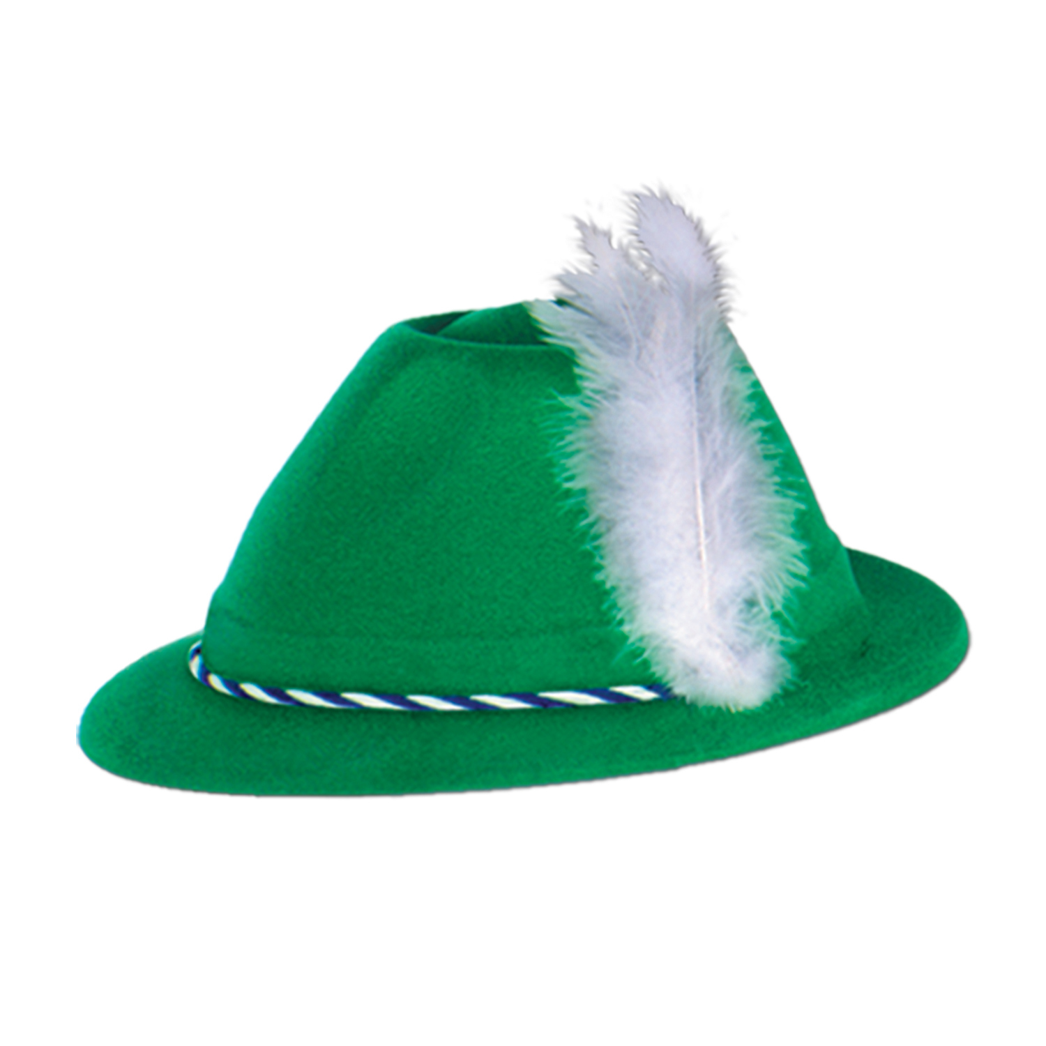 Green Velour Tyrolean Hat (Pack of 24) Green Velour Hat, Green hat with feather, Oktoberfest accesssory, St. Patricks Day favor, German party supplies, Inexpensive party hat, Wholesale party goods, Cheap velour hat