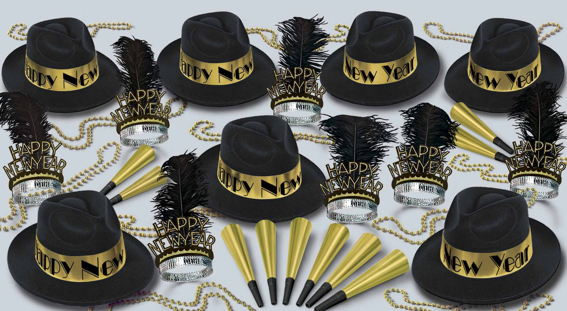 Touch Of Gold Assortment for 50 Touch of Gold, New Years Eve, NYE, Party Favors, Party Supplies, Black and Gold, Party Decor, Wholesale, Inexpensive party, Bulk packs, Hats, Horns, Tiaras, Beads, Decorations, Cheap, Gold, Balloons