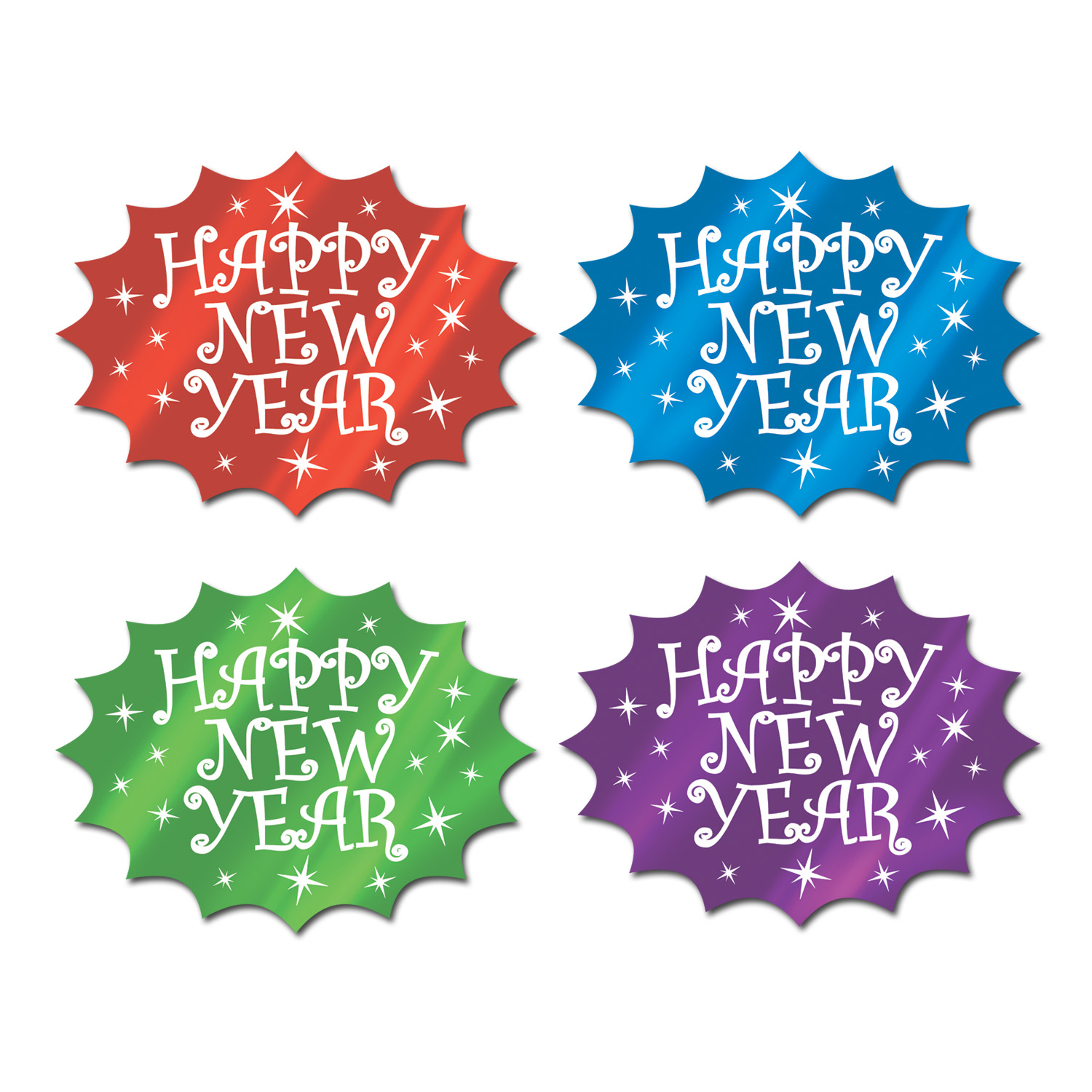 Foil Happy New Year Cutout (Pack of 24) foil, happy, new, year, cutout, eve, party, table, hanging, wall, decoration, photo, prop, pack