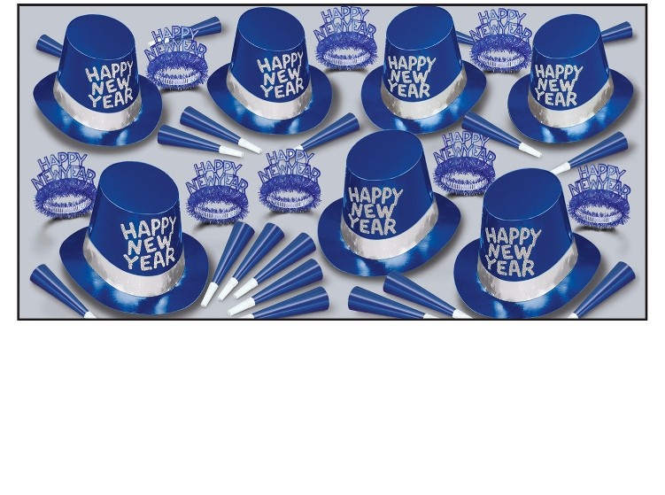Blue Ice Asst for 50  New, Years, Eve, Blue, Silver, Party, Favors, Inexpensive, Wholesale, Bulk, Kit, Hats, Tiara, Horns