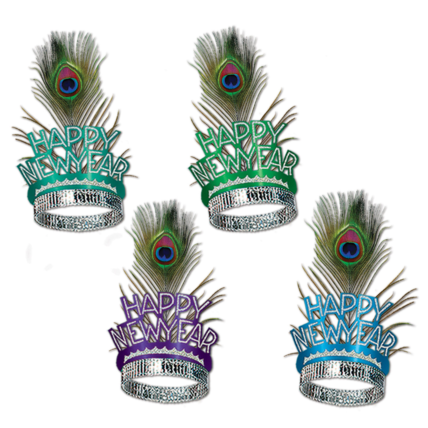 Peacock Tiaras (Pack of 50) peacock, tiaras, accessory, pack, hotel, bar, casino, restaurant, new, years, eve, party