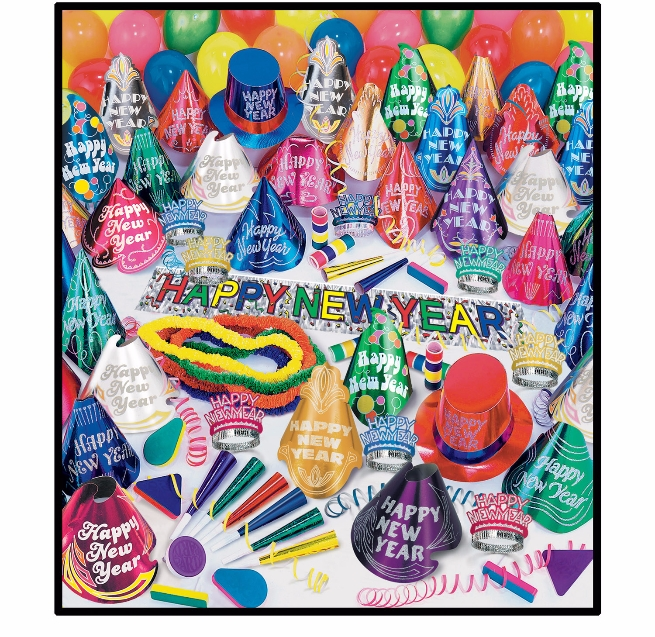 Centurion Asst for 100  Kit, New, Years, Eve, Assortment, 100, party, favors, wholesale, inexpensive, hats, tiaras, leis, noisemakers, balloon
