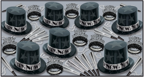 Black and Silver New Year Star Assortment for 50 New Years Eve, New Years, party goods, party supplies, party kit, assortment, black and silver, classic, party hats, party horns, party beads, tiaras, for 50.