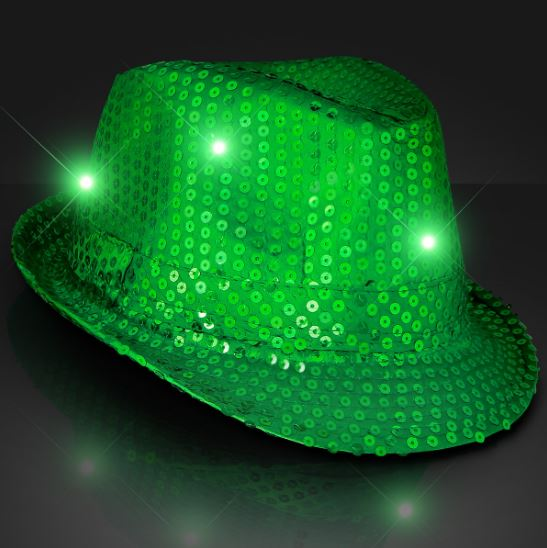 Green Light Up Fedoras (Pack of 6) Light Up, Glow in the Dark, LED, New Years Eve, St. Patricks Day, Mardi Gras, Party Hats, Light up hats, Fedoras, Sequin Fedoras, Party Supplies, Wholesale Party Goods, Bulk Packs, Inexpensive party supplies