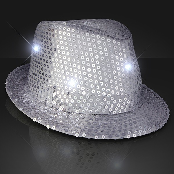 Silver Light Up Fedoras (Pack of 6) Party Hats, Fedoras, Sequined Fedoras, Sparkling, Hats, Glow in the Dark, New Years Eve, Cinco de Mayo, Inexpensive Party Favors, Party Supplies, Light up, LED, Silver