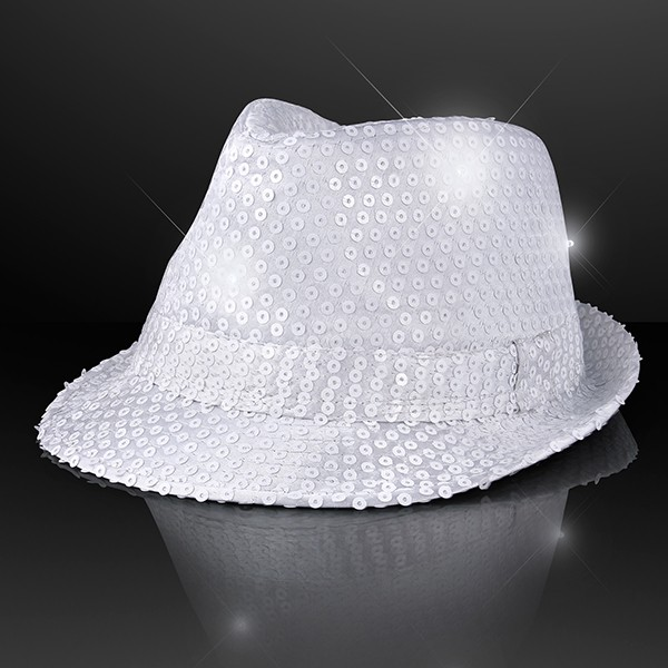 Light Up Fedoras (Pack of 6) Party Hats, Wearables, Light Up, LED, Fedoras, Hats, Sequinned fedoras, New Years Eve, Casino, Patriotic, 4th of July, Wholesale party supplies, Bulk Packs, Inexpensive party goods