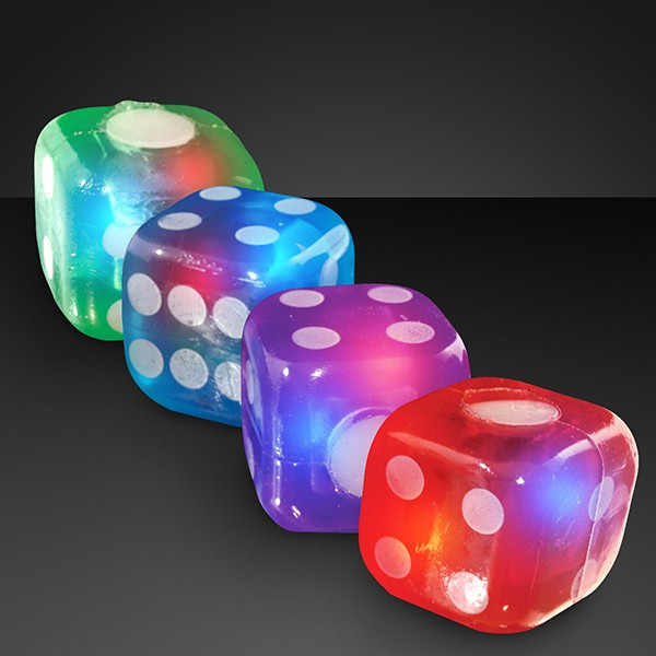 Light Up Bouncy Dice (Pack of 12) Dice, Casino, Games, Table Games, New Years Eve, Casino, Green, Blue, Red, Purple, Flashing Dice, Light up, Glow in the Dark, Wholesale party supplies, Inexpensive party favors, Bulk party goods