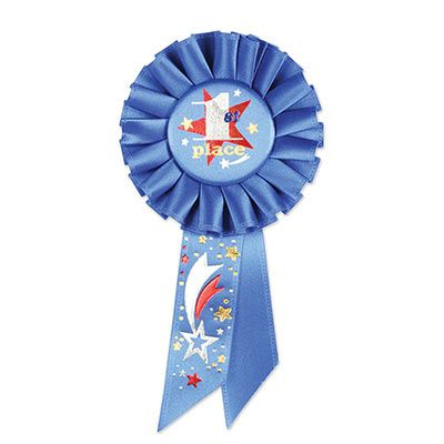 1st Place Rosette (Pack of 6) 1st Place Rosette, winner, games, new years eve, wholesale, inexpensive, bulk