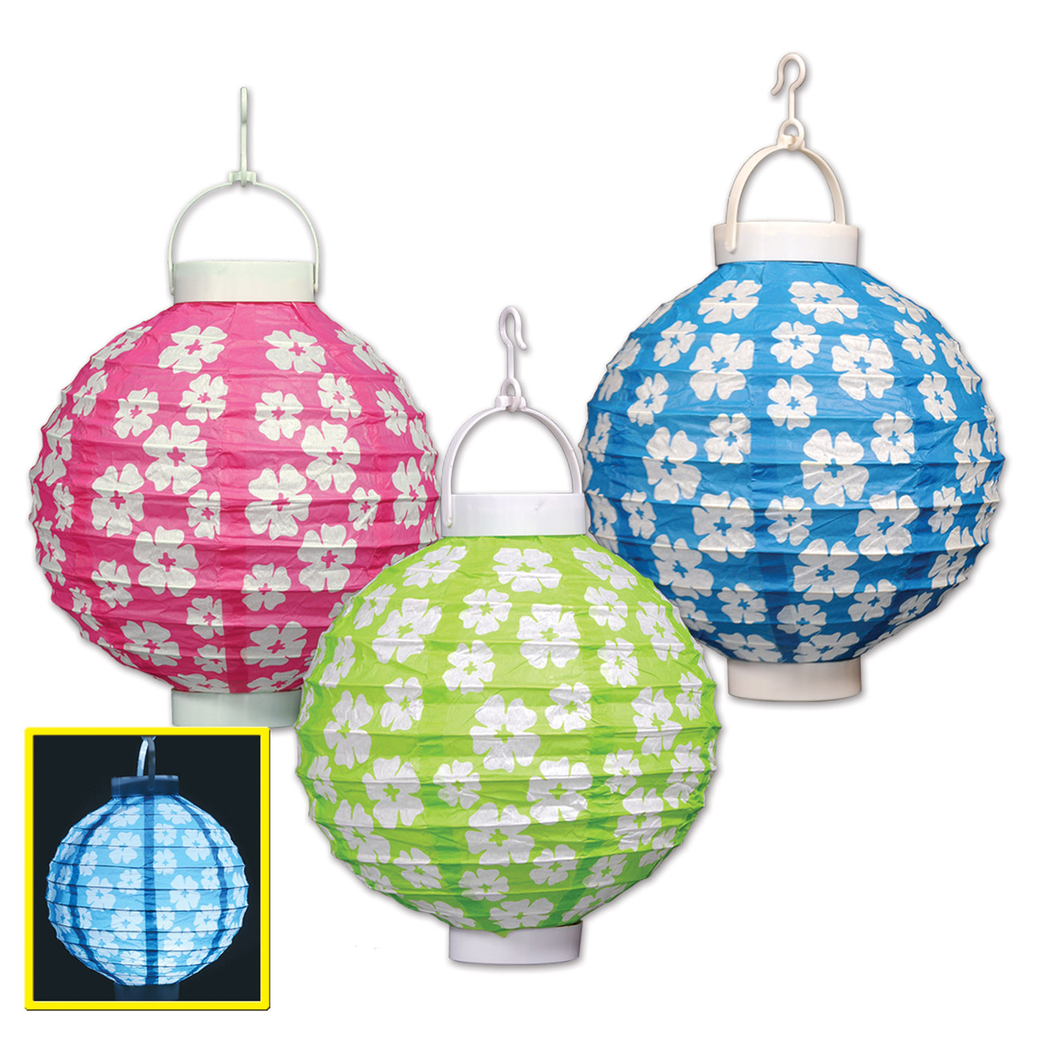 Light up hibiscus paper lanterns pack of