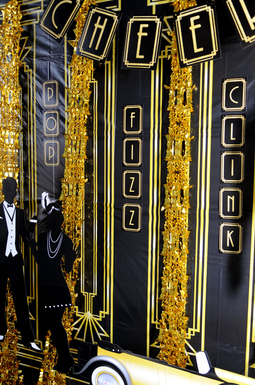 GREAT GATSBY 1920/'s CHEERS BANNER PARTY DECORATION GOLD BLACK 20/'s NEW YEARS EVE