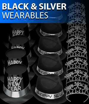 black and silver new years eve party hats