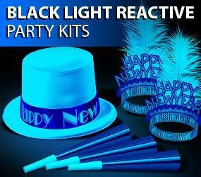 black light reactive new years eve party hats and tiaras image