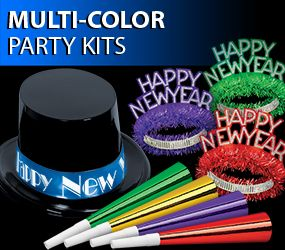 bright colored new years eve party kits image