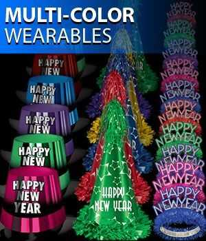 Bright Colored New Year Party Hats and Tiaras
