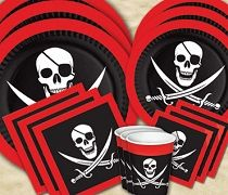 bulk pirate tableware, plates, cups, and napkins