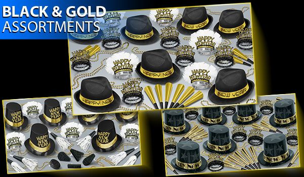 black and gold new years eve party kit image