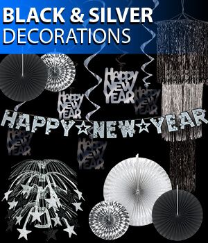 black and silver new years eve party decorations