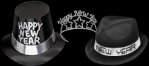bulk black and silver nye hats and tiaras