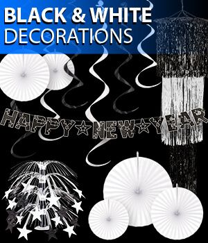black and white new years eve party decorations image